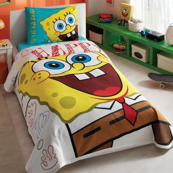 Tač Posteljina Pique Sponge Bob Happy Za Jedan Krevet Tac